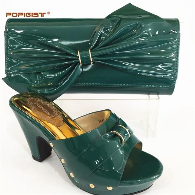 e10bb3add الأخضر اللون ايطاليا الأحذية و حقيبة نسائية عالية الجودة الايطالية حذاء  وحقيبة مجموعة مزينة الراين أحذية