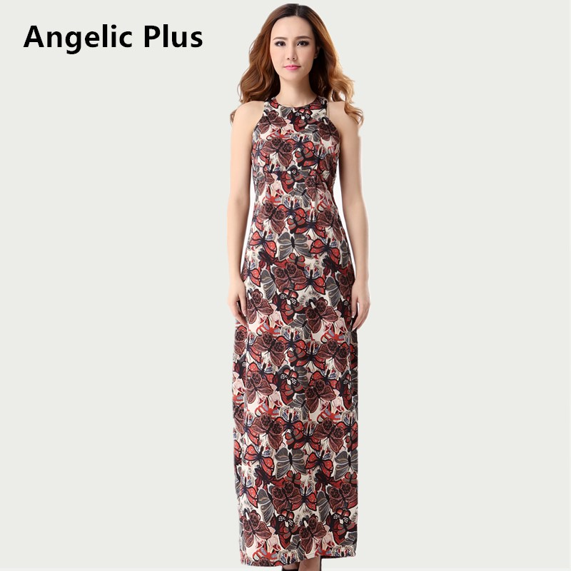 2018 Plus size Summer Women Vintage Long Dress Girl's Sleeveless Butterfly Printed Dress Lady's Casual Dress clearance sales