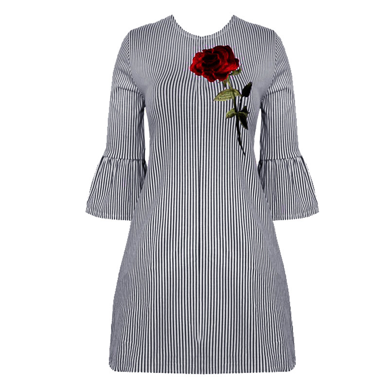 2017 Blue Stripes Women Summer Shirt Short Dresses Sexy Rose Embroidery  Flare Sleeve Beach Casual Vintage Dresses Woman Vestidos-in Dresses from  Women's ...