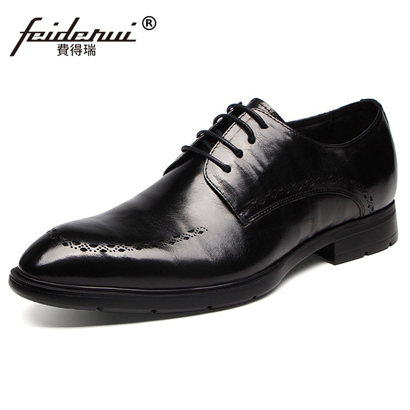 2017 Elegant Pointed Toe Derby Man Oxfords Genuine Leather Formal Dress Shoes Busuness Wedding Party Office Men's Flats NH80  ruimosi new arrival formal man bridal dress flats shoes genuine leather male oxfords brand round toe derby men s footwear vk94