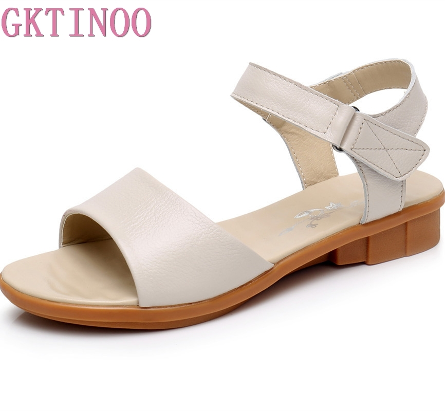 GKTINOO Flat Summer Sandals For Women 2018 Mother Shoes Genuine Leather Nurse Shoes Flat Maternity Shoes Women beyarne white nurse shoes sandals leather wedges cow muscle outsole women summer maternity shoes sandals mother shoes size 33 41