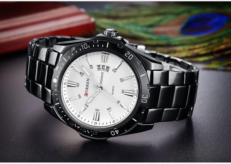 Mens Watches Top Luxury Brand CURREN 18 Men Full Steel Watches Quartz Watch Analog Waterproof Sports Army Military WristWatch 12