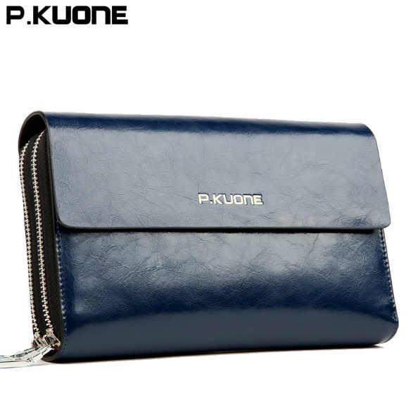 8b26b1661b6 ... P.KUONE men s clutch wallet Luxury Shining Oil Wax Cowhide Men Clutch  Bag man Long ...