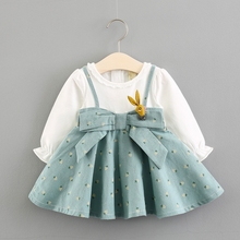 baby girl dress cotton casual long sleeve princess sping autumn second birthday frock 9 12 24 months 1 2 3 years rabbit bunny