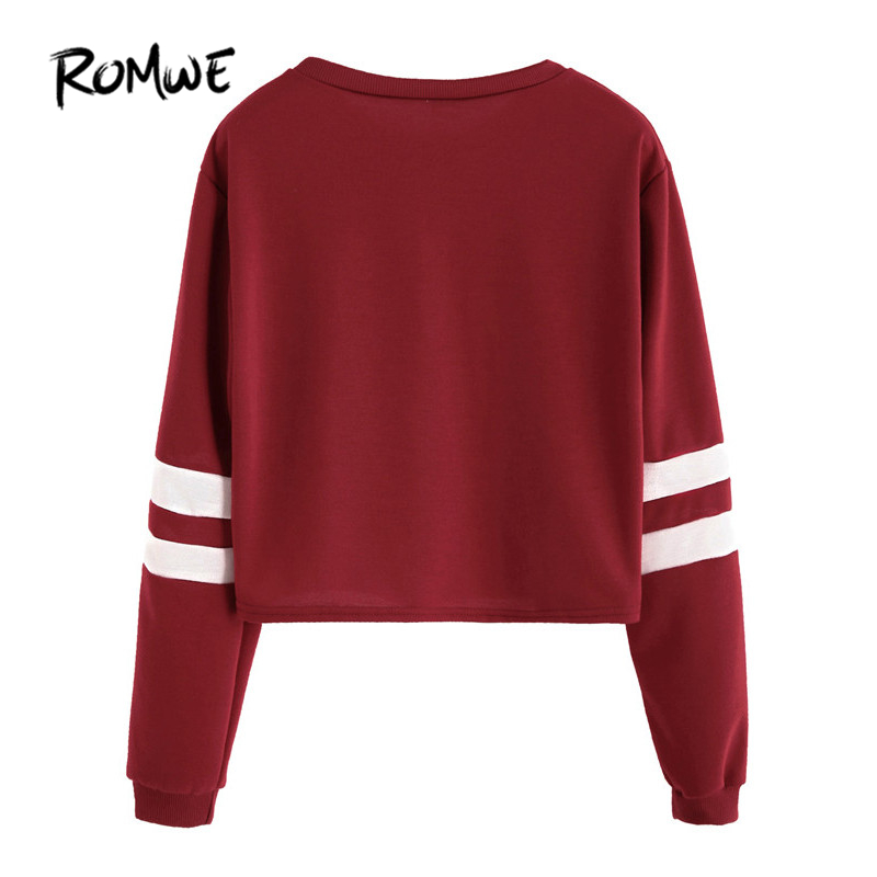 b0ab0e781 ROMWE T shirt Women 2019 Clothing Casual Ladies Autumn Tees Round Neck  Varsity Striped Long Sleeve Crop T shirt-in T-Shirts from Women s Clothing  on ...
