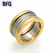BFQ 2017 fashion black silver colors roman number rings for women men fashion letter stainless steel