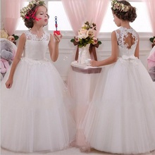 Goede kwaliteit mooie bloem meisjes jurken lange baby meisjes bruiloft feestjurk voor 6-16 jaar gilrs gratis verzending groot meisje jurk
