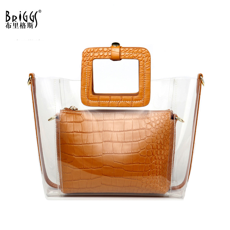 BRIGGS Women Transparent Bag Summer Beach Bag PVC Small Tote Messenger Bag For Girls Fashion Handbag Shoulder Bags For Women