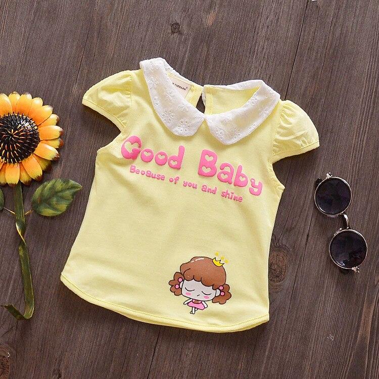 9fe7ebcc2c Bebê meninas verão dos desenhos animados de algodão de manga curta t-shirt  infantil do bebê de moda tops