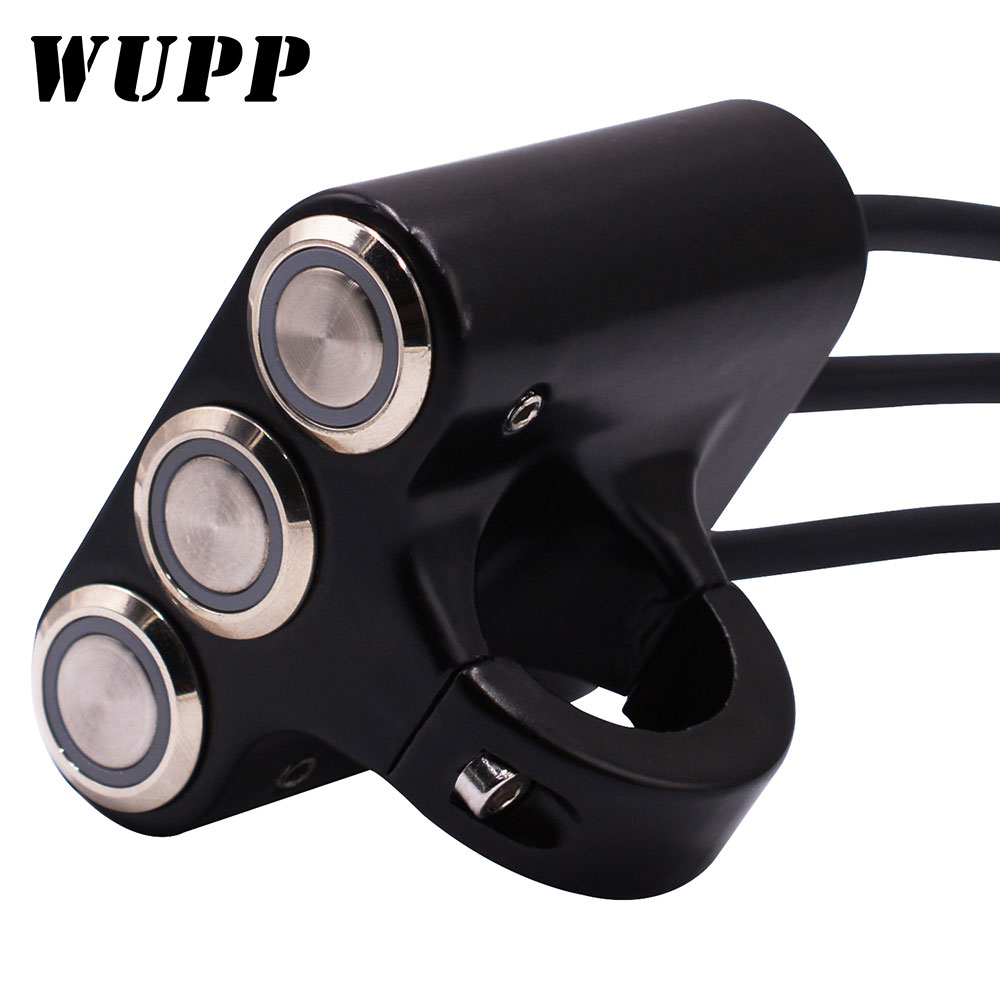 WUPP Universal Handlebar Motorcycle Switches Fog Light  Mount Horn Power Start Switch Aluminum With Indicator For Yamaha