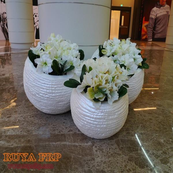 Fiberglass planter decoration,green plant pot,indoor decoration ...