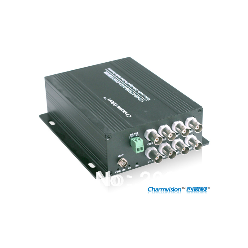 EVO-108 Charmvision 8 channels video optical fiber transceiver single multi mode single core max up tp 20km