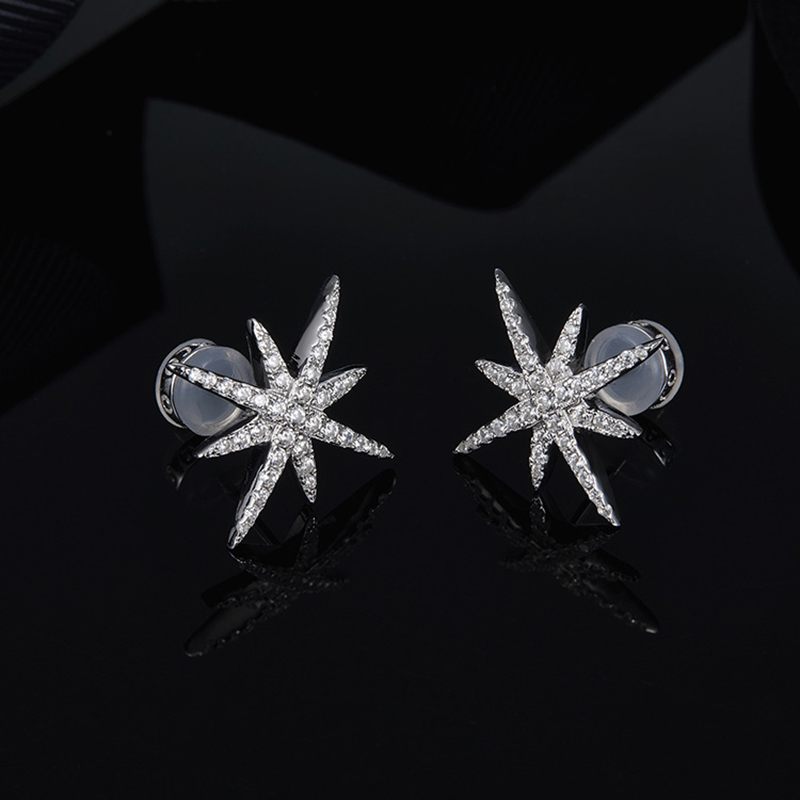 Earrings Fine Jewelry Obliging Large Meteor Stud Earrings S925 Sterling Silver Micro-inlaid Zircon Fashion Fits With Moroccan Jewelry Ball Gift Latest Technology