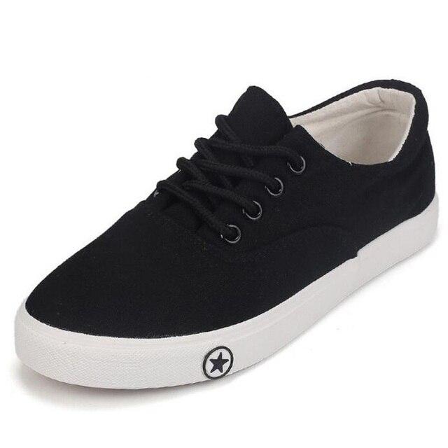 Primavera zapatos de lona de verano zapatos de mujer de la boca baja negro zapatos de lona blancos para mujer cómoda transpirable de encaje hasta zapatos casuales