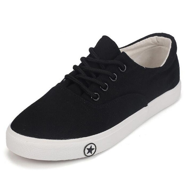 Spring summer canvas shoes woman shallow mouth black white canvas shoes for women comfortable breathable lace up casual shoes