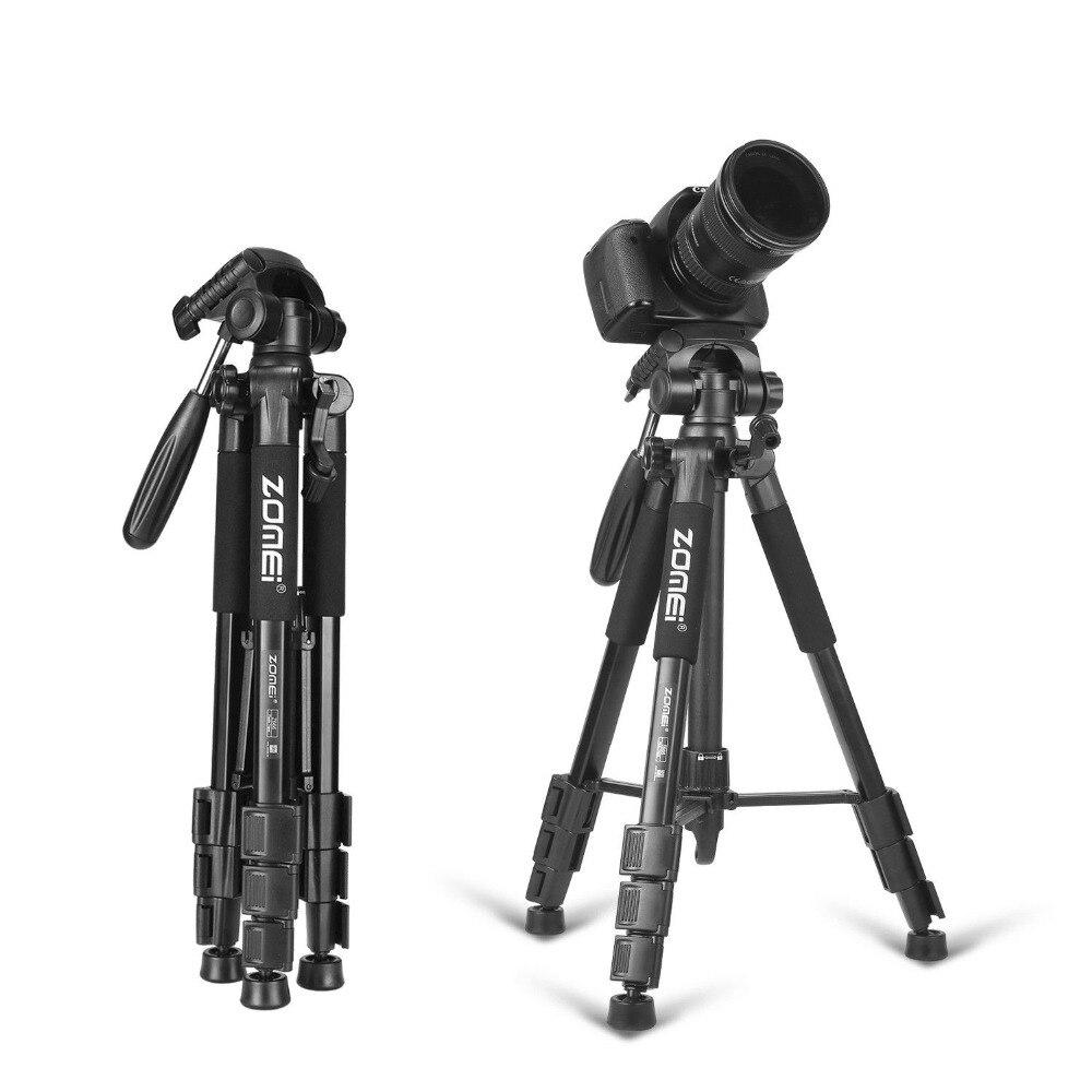 Nova zomei tripé z666 profissional portátil de alumínio viagem câmera tripé acessórios suporte com cabeça pan para canon dslr câmera