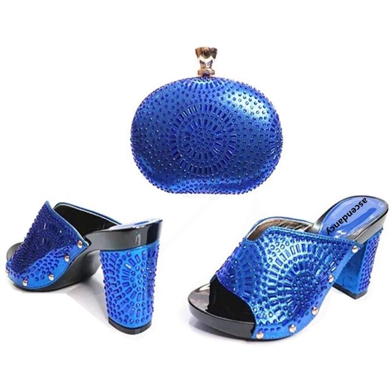 Azul Con Mujeres Conjunto Africanos 2017 Zapatos Bolso Bolsas Rhinestone Decorado Italianas verde Establece África púrpura Bolsa Italianos rosado amarillo De Y aqw06g