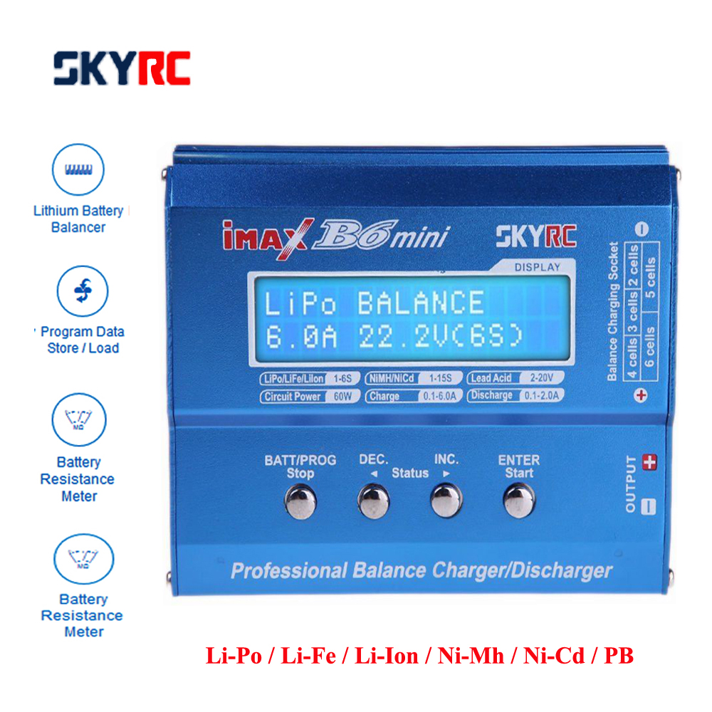 Original SKYRC IMAX B6 mini 60 W Balance cargador Discharger para RC helicóptero nimh nicd aviones de carga inteligente de la batería