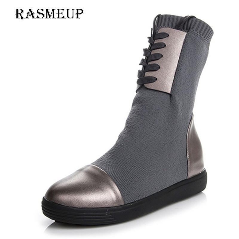 RASMEUP Genuine Leather + Elastic Sock Boots Women Brand Design Platform Knitted Women's Boots Lace Up Casual Woman Shoes Black lace up knitted top