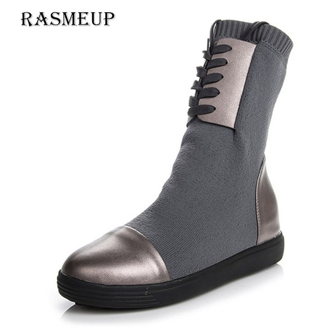 RASMEUP Genuine Leather + Elastic Sock Boots Women Brand Design Platform  Knitted Women s Boots Lace Up 752112ffaa62
