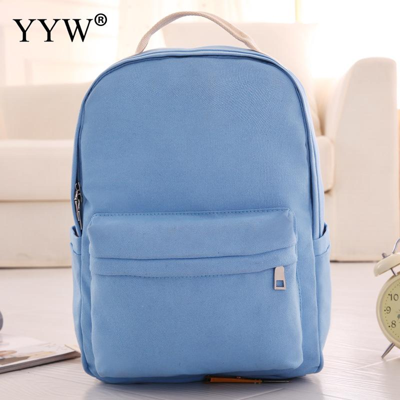 YYW Brand Canvas Women Backpack College High Middle School Bags For Teenager Girls Laptop Travel Casual Rucksacks Mochila