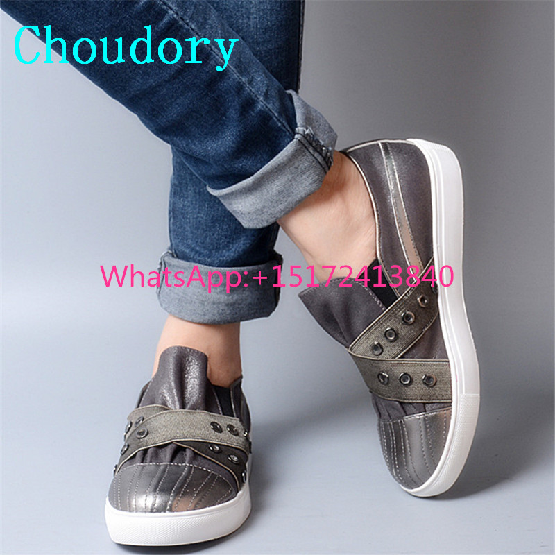 Choudory Round Toe Casual Women Shoes Slip-On Comfortable Crystal Solid Genuine Leather Metal Decoration Fashion Plested Pumps