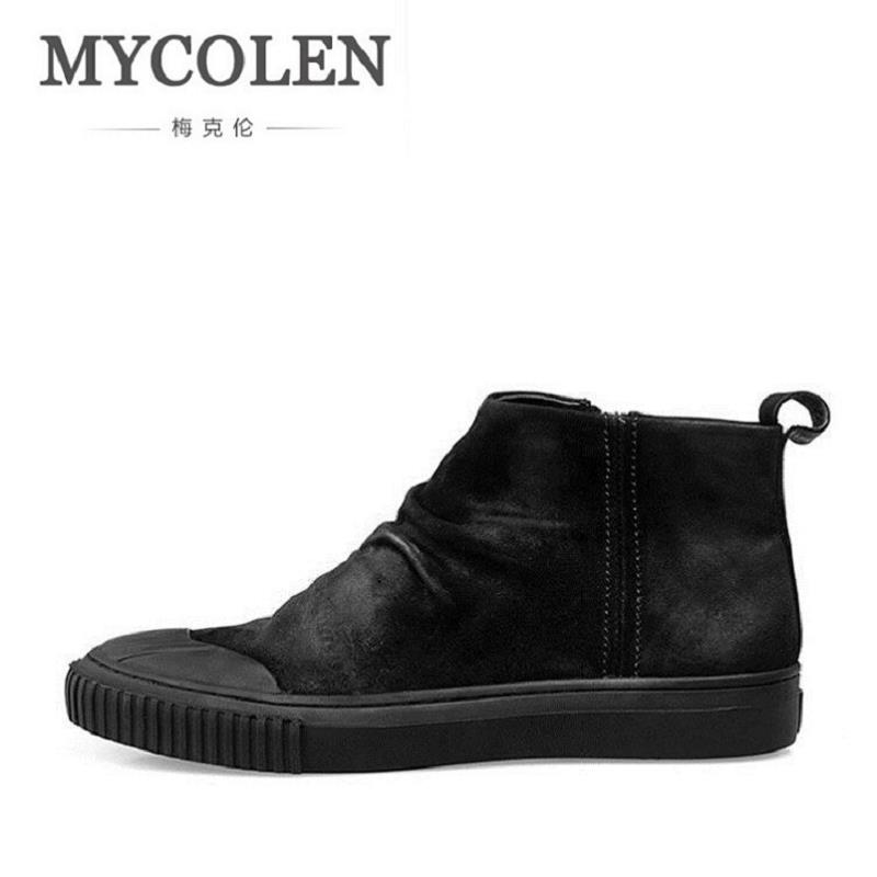 MYCOLEN Men Shoes High Ankle Luxury Trainers Genuine Leather Winter Snow Boots Casual Zip Flats Black Man Shoes Bota cbjsho brand men shoes 2017 new genuine leather moccasins comfortable men loafers luxury men s flats men casual shoes