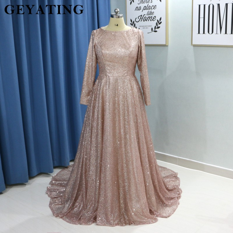 Sparkly Muslim   Evening     Dresses   Long Sleeves 2019 Saudi Arabic Champagne Gold Women   Evening   Gowns Formal Party Long   Dress   Kaftan