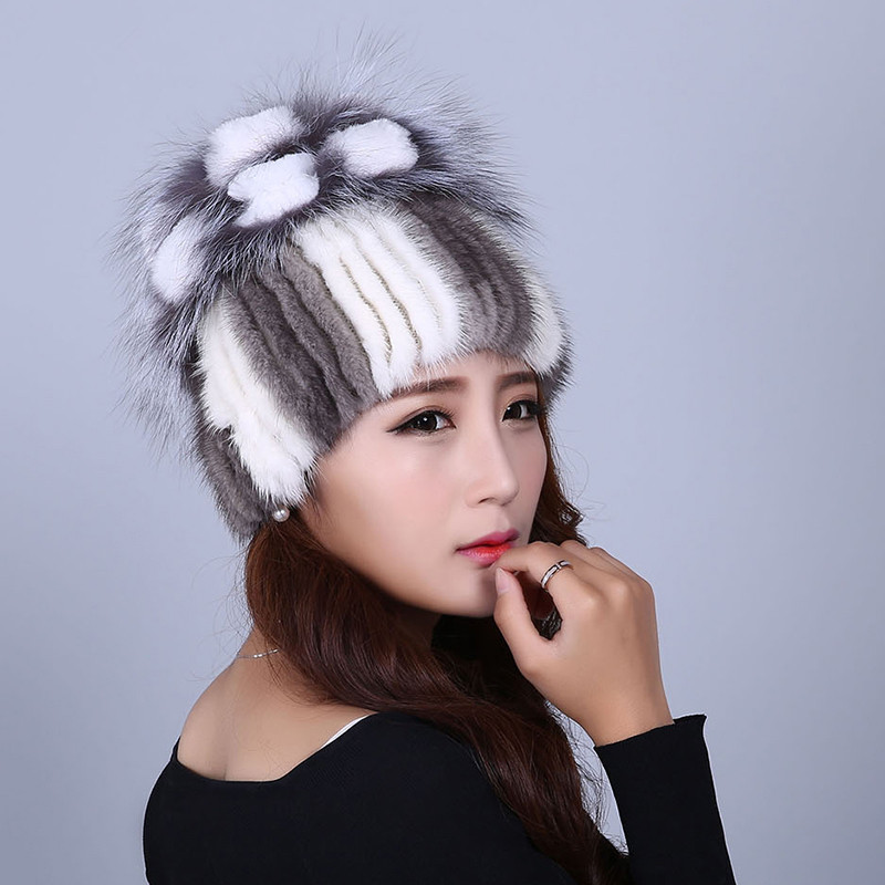 women fur hats real mink fur knit warm winter fur beanies gray white brown color new design stripes H156