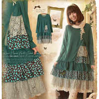 Japanese Spring Mori Girl Dress Women Casual Vintage Patchwork Cotton Plad Pattern Long Sleeved Cute Female Vestido Dresses C237