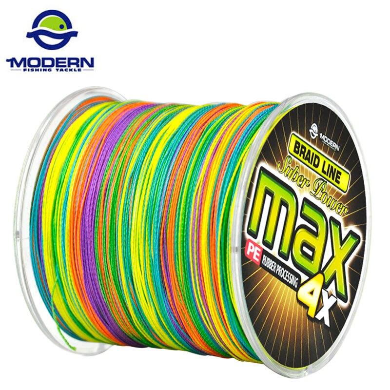 500 Mt MODERNE ANGELN Marke MAX Serie Multicolor 1 Mt 1 farbe Multifilament PE Geflochtene Angelschnur 4 stränge geflecht drähte 8 zu 90LB