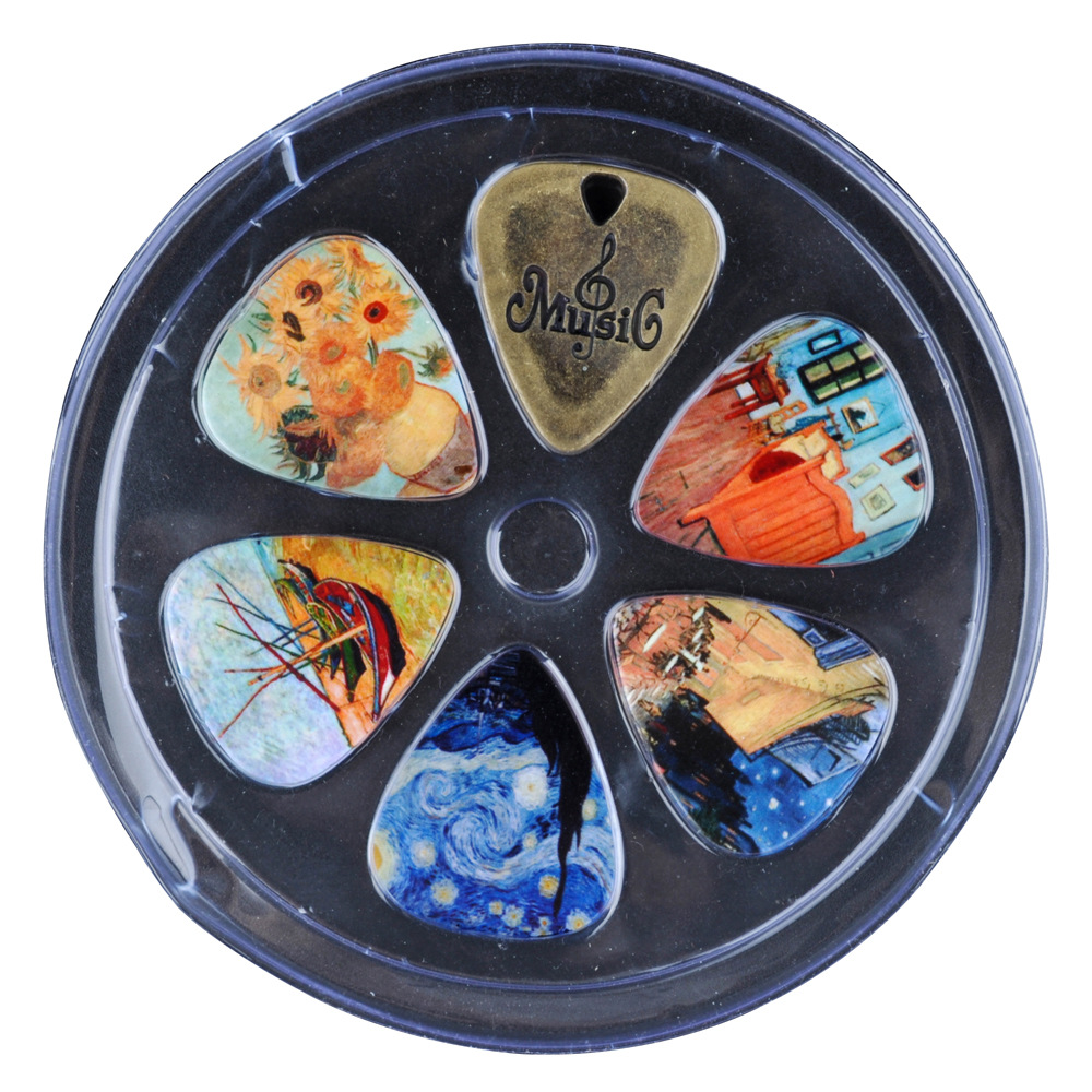 Foreign trade boutique Guitar Pick set cross-border explosion paintings painted retro pull piece suit guitar accessories