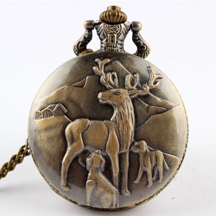 Bronze Quartz Reindeer Peary Caribou Pocket Watch Necklace Pendant Men Gift P47 Relogio De Bolso
