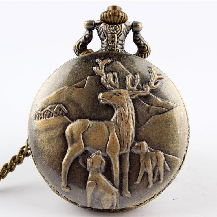 Bronze Quartz Reindeer Peary Caribou Pocket Watch Necklace Pendant Men Gift P47 Relogio De Bolso