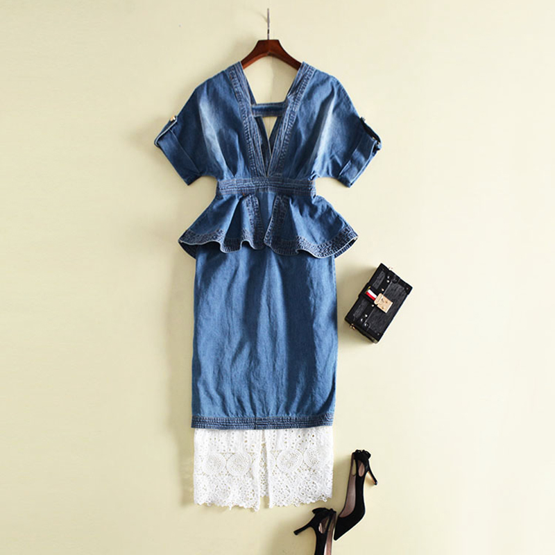 HIGH QUALITY Newest 2019 Designer Runway Suit Set Women's Ruffle Denim Tops Lace Skirt Set