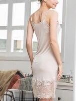 Breathable Silk Knitted Lace Underskirt Long Skirt Dress Femme Lingerie Slip Intimate Slip Women Petticoats Sottoveste Lunga