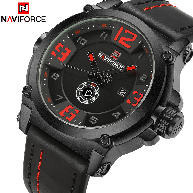 Top Brand Luxury NAVIFORCE Men Sports Watches Men's Army Military Leather Quartz Watch Male Waterproof Clock Relogio Masculino