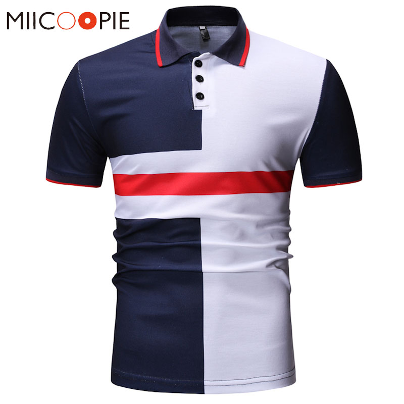 2019 Summer   Polos   Men Business Casual Breathable Fashion Contrast Color Camisa   Polo   Summer Short-sleeve Casual Shirts