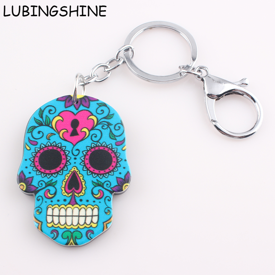 2017 New Vintage Trinket Key Holder for Car Colorful Skull Alloy Acrylic Keychain Doll Face Keys Ring Cars Key Chain JJAL C165 vintage alloy hollowed body chain