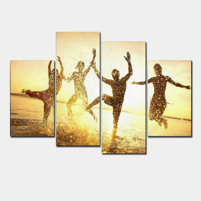 4 Panels Dance men Print Canvas Painting for Living Room Wall Art ...