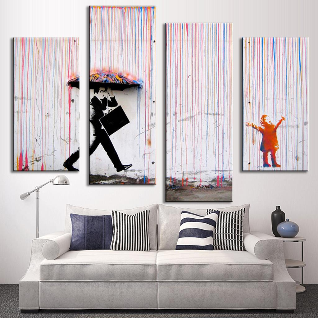 Home decor paintings - Aliexpress Com Buy 4 Pcs Set Banksy Art Colorful Rain Oil Painting Paintings Printed Canvas Wall Art Home Decor Wall Paintings From Reliable Painting
