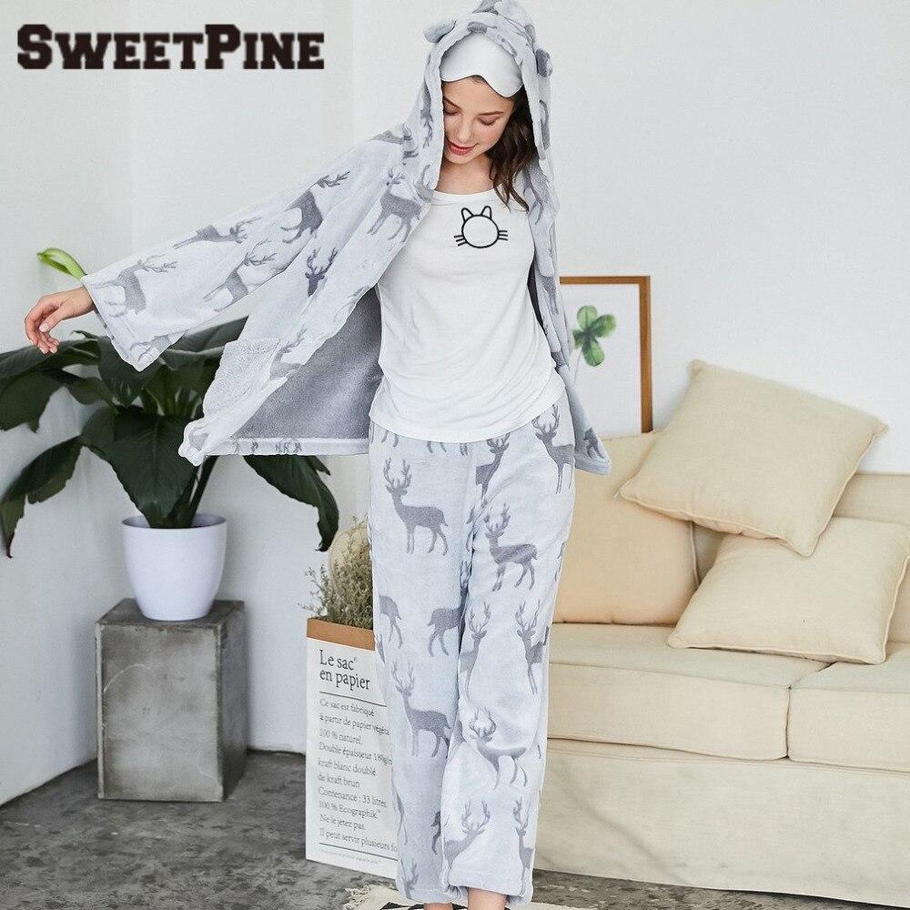 SWEETPINE Nightwear Pajamas Set Women Hooded Sleepwear 2 Pieces Grey Tops & Long Pants Floral Deer Print Chirstmas Home Clothes