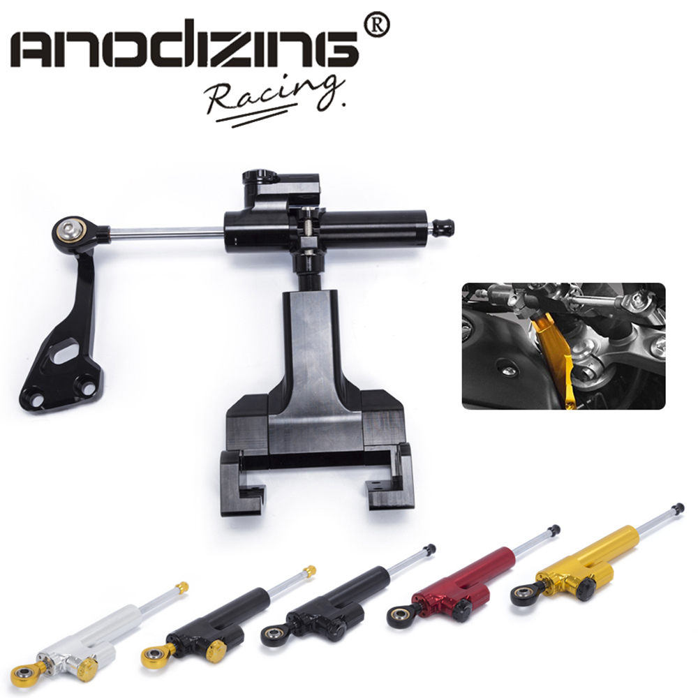 Motorcycle Aluminium Steering Stabilizer Damper Mounting Bracket Kit For YAMAHA MT 07 FZ07 2014 2017