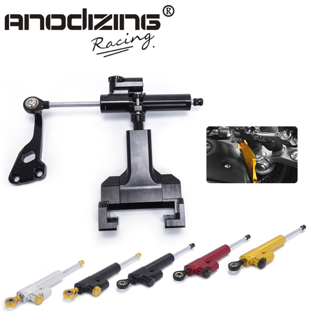 Motorcycle Aluminium Steering Stabilizer Damper Mounting Bracket Kit For YAMAHA MT 07 FZ07 2014 2017
