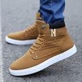 Весна прилив высокие ботинки Корейской моды джинсы холст Мужская Повседневная Обувь ткани обувь Мартин англии