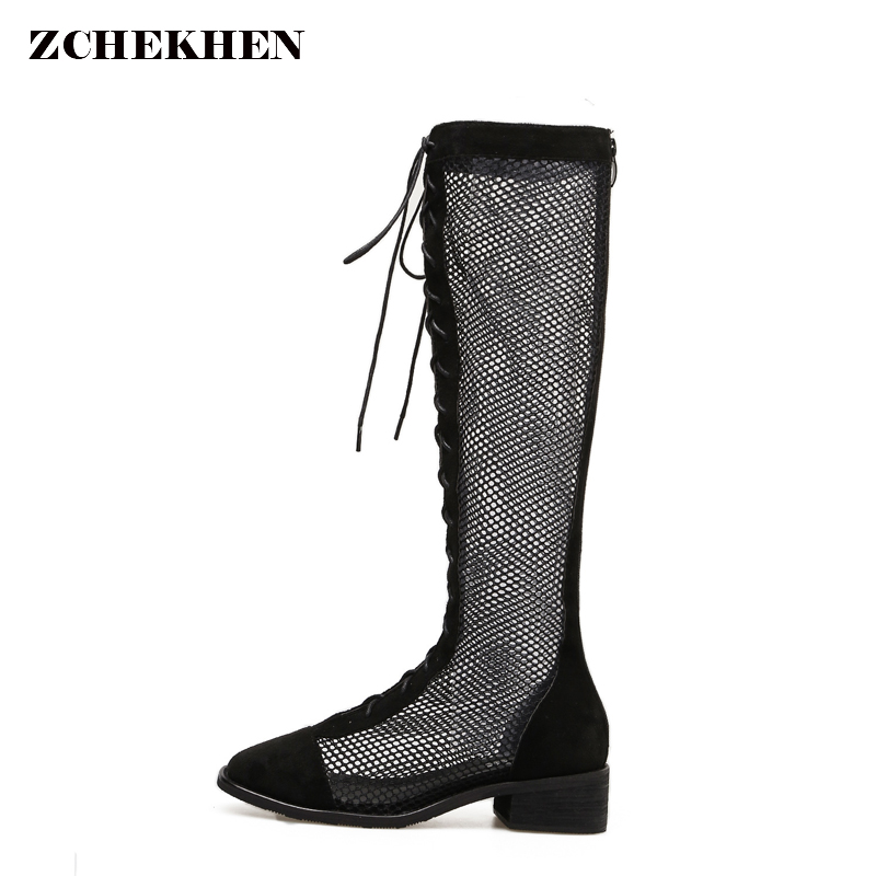 2018 autumn Summer women boots Sexy hollow out air mesh motorcycle knee high boots Fashion cross-tied gladiator shoes MK505 women lady sexy cut out gladiator sandals boots fashion suede thigh high summer boots cross tied hollow out knee high flat boots