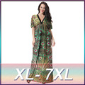 Peacock Maxi Batwing Sleeve Plus Size Beach Dress V Neck Tunics For Ladies Clothing Green Draped Long Boho Ethnic Dress