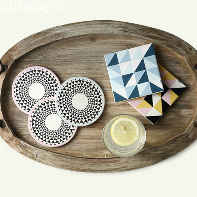 DUNXDECO Table Placemat Coffee Cup Pad Coasters Circular Triangle Ceramic  Cork Coaster Mat Modern Nordic Geometric