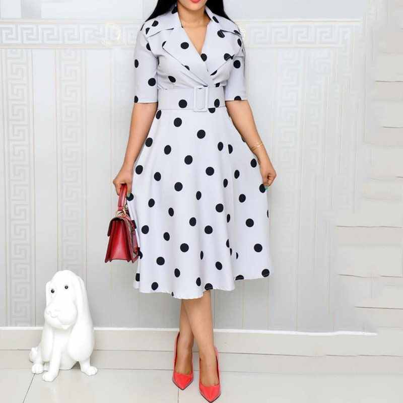 Elegant Vintage Office Ladies African Blue Women Midi Dresses Casual Aline Notched Lapel Polka Dots Print Female Fashion Dress