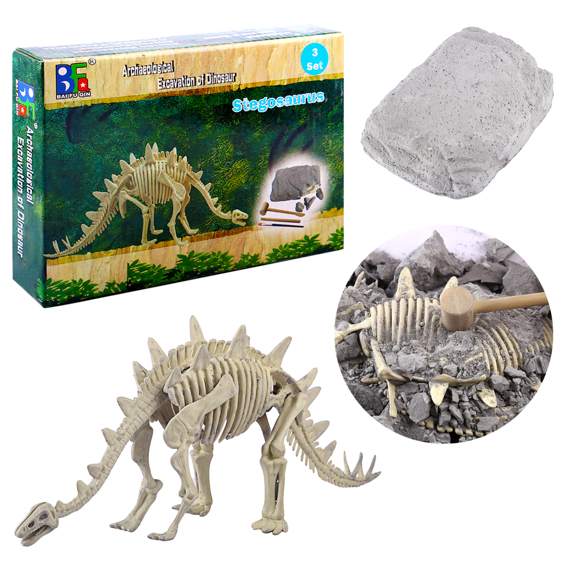 1pcs Dinosaur Excavation Kit Archaeology Dig Up Fossil Skeleton Toy Gift For Kid 5-7 Years Animals & Nature Learning & Education